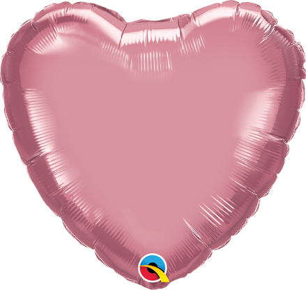 Heart Shaped Mauve Chrome Foil Helium Balloon